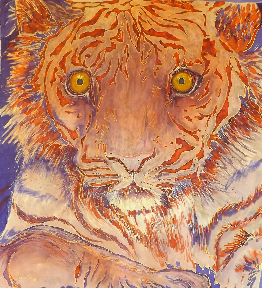 Tiger, Silk Art, Braveheart by Stefanie Wilhelm