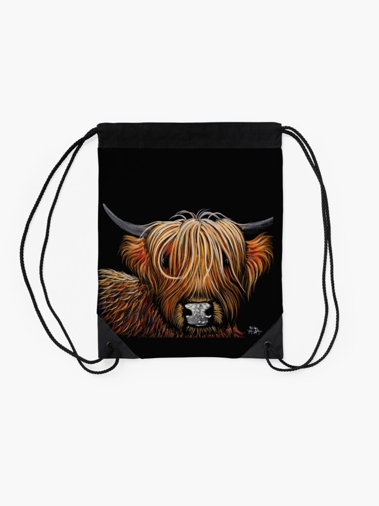 Alternate view of Scottish Highland Cow PRiNT 'HAMISH' by Shirley MacArthur Drawstring Bag