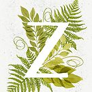 Letter Z monogram with green watercolor fern and leaves by helga-wigandt