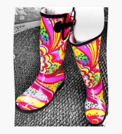 Teeny's Kickin Rainboots Poster