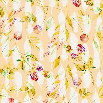 Spring Flowers and Feathers Pattern by oursunnycdays