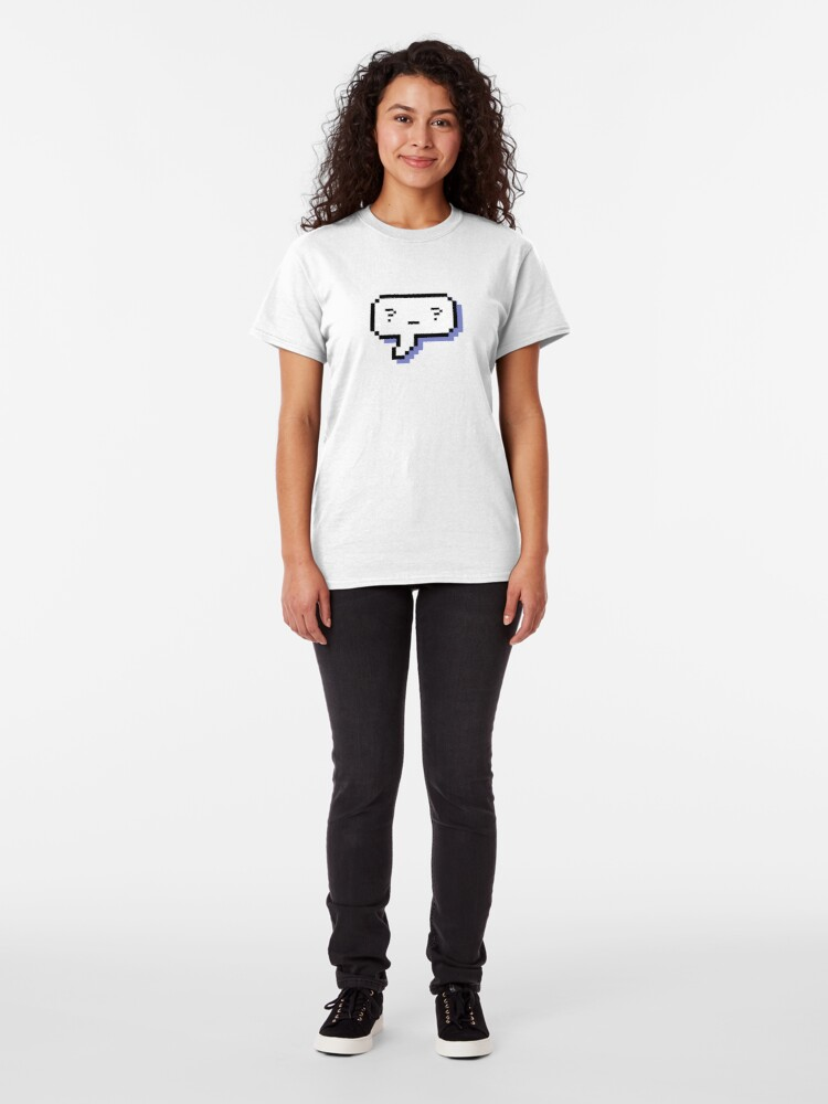 Alternate view of Confused Kaomoji - Pixel Speech Bubble - (Blue) Classic T-Shirt