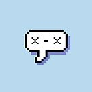 Dead Kaomoji - Pixel Speech Bubble - (Blue) by Bumcchi
