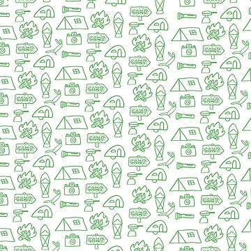 Camping Doodle Print Green by hipaholic