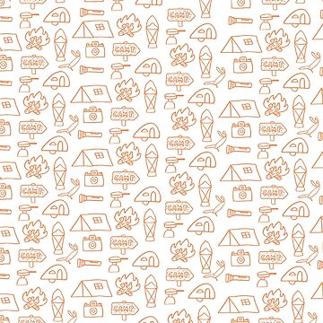 Camping Doodle Print Orange by hipaholic