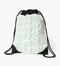 Camping Doodle Print Green Drawstring Bag