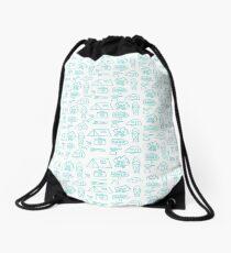 Camping Doodle Print Blue Drawstring Bag
