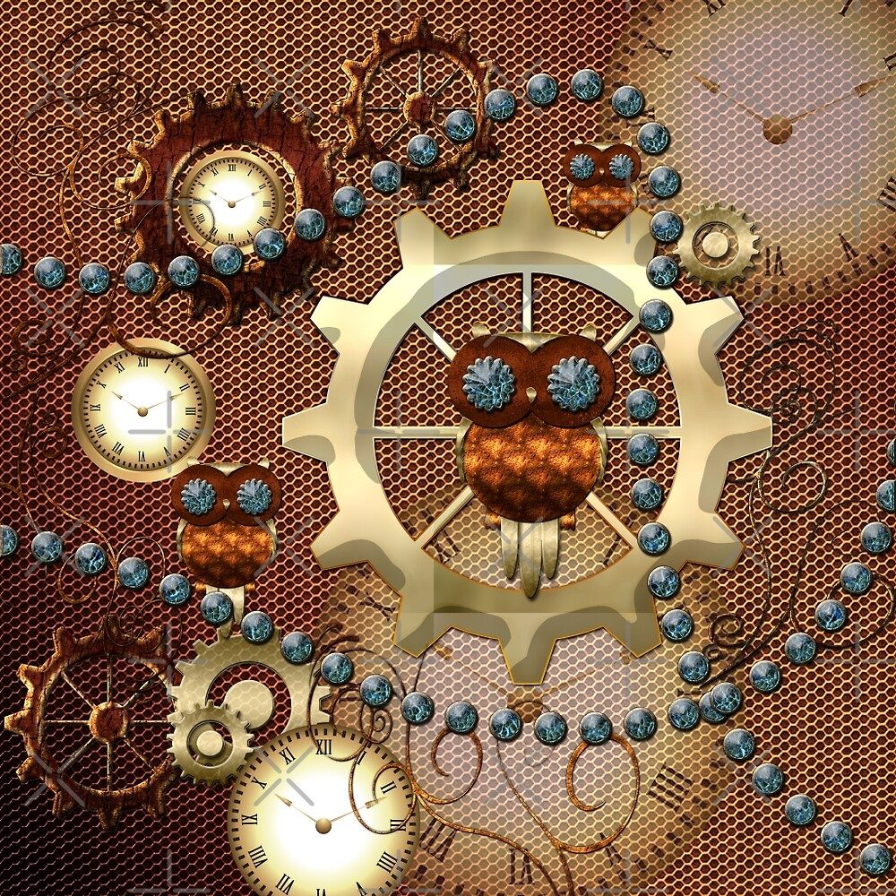 Steampunk, cute owl with clocks and gears by nicky2342
