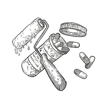 Paint Roller Medicine Pill Bottle Drawing Black and White by patrimonio