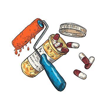 Paint Roller Medicine Capsule Bottle Drawing Color by patrimonio