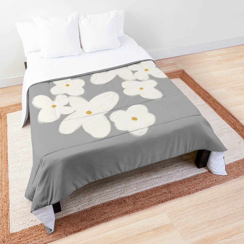 Painted Blooms in Pale Blush Pink on Solid Grey. Cheerful. Floral. Minimalist. Comforter