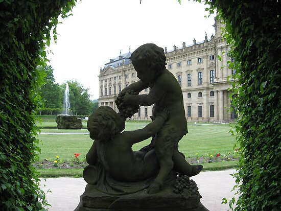 faun and child statue the residenz weurzburg by missjanem111 redbubble. Black Bedroom Furniture Sets. Home Design Ideas