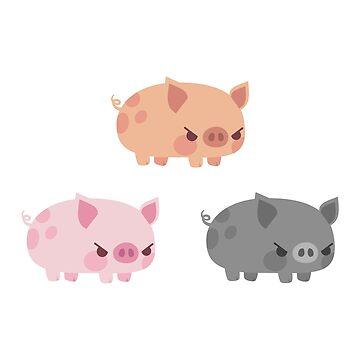 Three grumpy little pigs by petitspixels