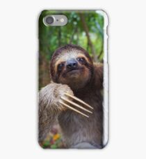 Portrait of Brown-Throated sloth on a tree iPhone Case/Skin