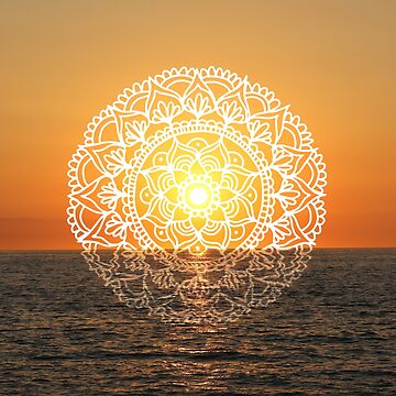 Fiery Orange Sunset Mandala  by julieerindesign