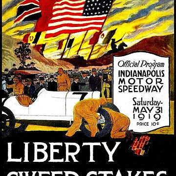 LIBERTY SWEEP STAKES ; Vintage 1919 Indianapolis AUTO racing Print by posterbobs