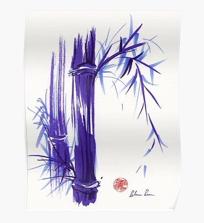 'Spring' Original ink and wash lavender bamboo painting Poster