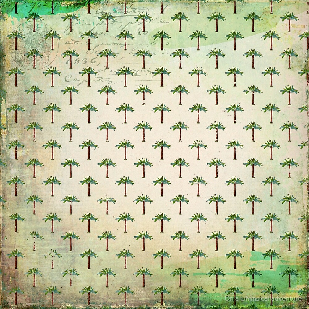 Vintage Tropical Palmtree Pattern by On a whimsical adventure