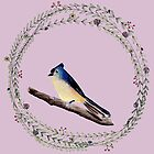 Little bird with wreath and lilac colored background by Sandra Connelly