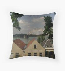 Bridge over Waal River Throw Pillow