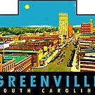 «Calcomanía de viaje vintage de Greenville, Carolina del Sur» de hilda74
