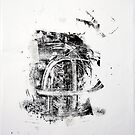 Contraintes et Abandon #2 - Monotype on Wenzhou Paper + pieces of paper sewn by Pascale Baud