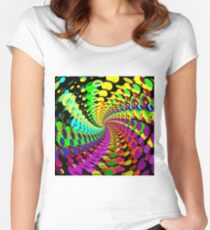 Abstract / Psychedelic Spiral Pattern Women's Fitted Scoop T-Shirt