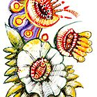 Pre-Columbian flower by Alejandro Silveira Bruno