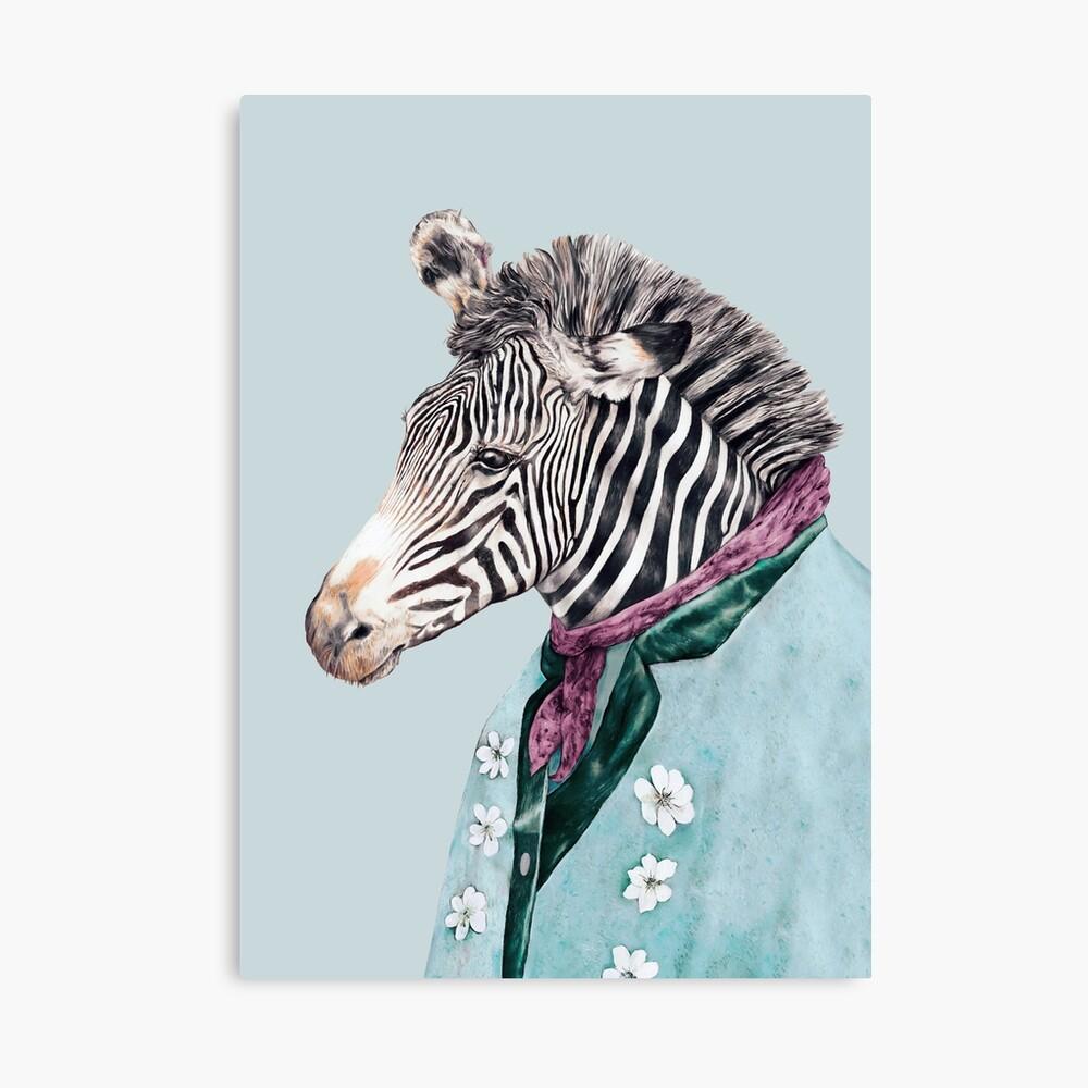 Zebra-Blau Leinwanddruck