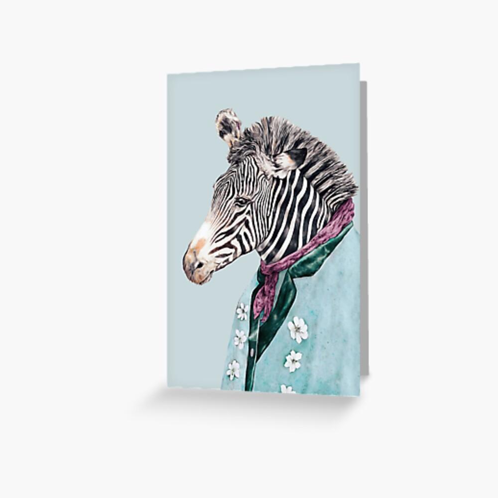 Zebra-Blau Grußkarte