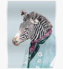 Zebra-Blau Poster