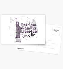 Patriam, Familia, Libertas - Statue Of Liberty Defend Her Postcards