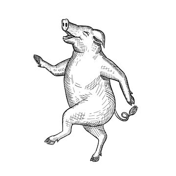 Happy Pig Dancing Drawing Retro Black and White by patrimonio
