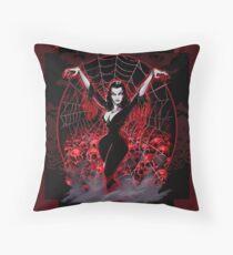 Vampira Spider web gothic Throw Pillow