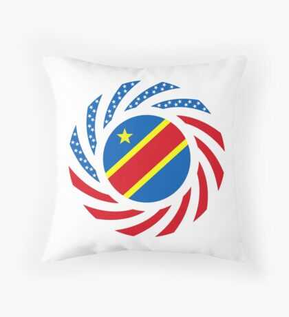 Congolese American (Democratic Republic) Multinational Patriot Flag Series Throw Pillow