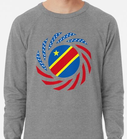 Congolese American (Democratic Republic) Multinational Patriot Flag Series Lightweight Sweatshirt