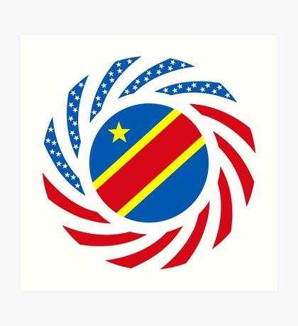 Congolese American (Democratic Republic) Multinational Patriot Flag Series Art Print