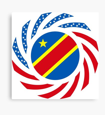 Congolese American (Democratic Republic) Multinational Patriot Flag Series Canvas Print