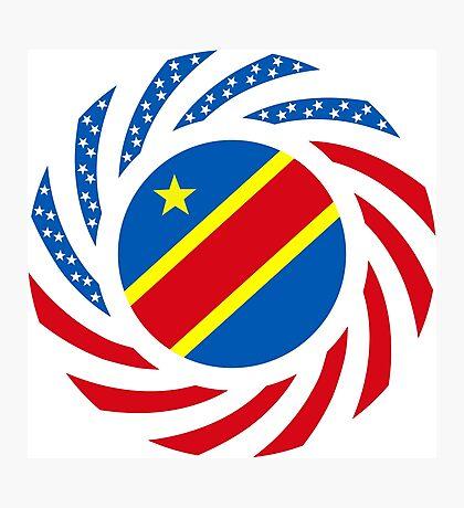 Congolese American (Democratic Republic) Multinational Patriot Flag Series Photographic Print