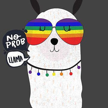 No Prob Llama Pride Parade Shirt LLama LGBTQ Pride T-Shirt by LuckyU-Design