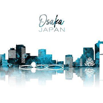 Osaka Monochrome Blue Skyline by DimDom