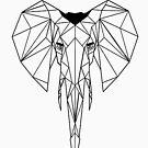 «Elefante Geometrico I low poly I line art I dibujo » de Unpredictable Lab