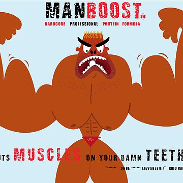 Humorous illustration on the subject of bodybuilding supplements by Louiecat1
