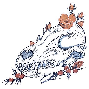MorbidiTea -  Rose Hip with a Red FoxSkull by MicaelaDawn