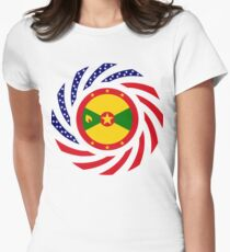 Grenadian American Multinational Patriot Flag Series Women's Fitted T-Shirt