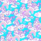 Chibi Unicorn - Repeat Pattern - Baby Blue by Penelope Barbalios