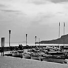 b/w boats at lake garda by xxnatbxx