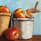 An Apple A Day - little Robin and apples oil painting by LindaAppleArt