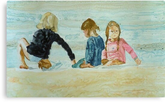 Girls at the beach, watercolo on yupo paper by Sandrine Pelissier