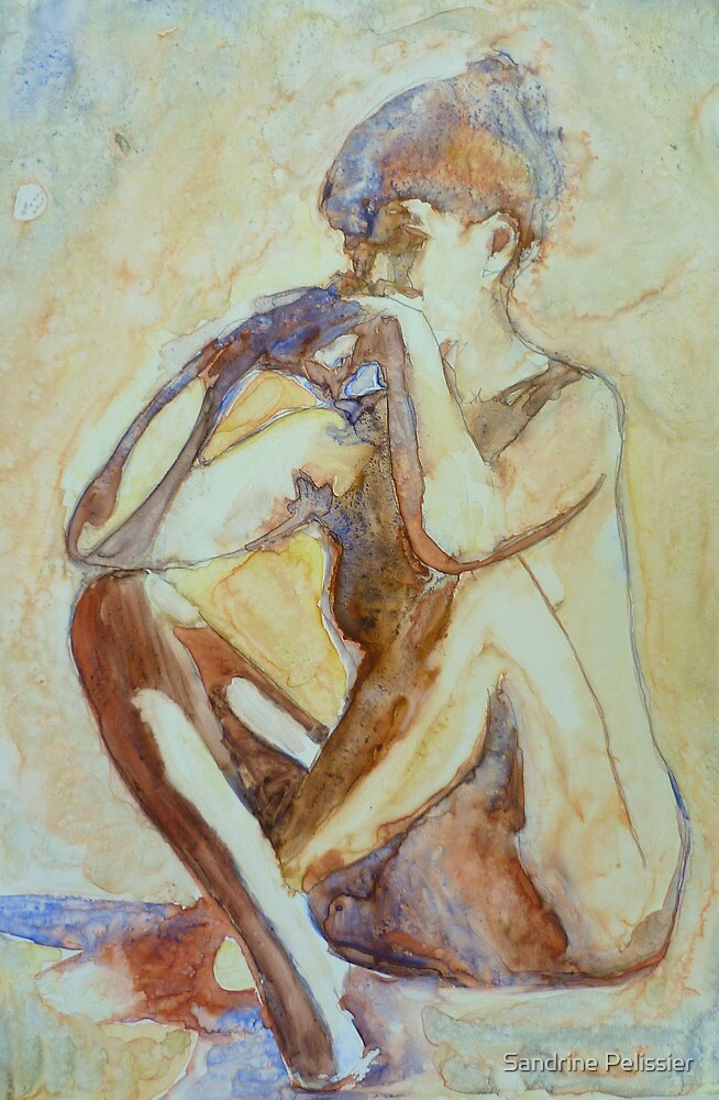 Nude : watercolor on yupo paper by Sandrine Pelissier